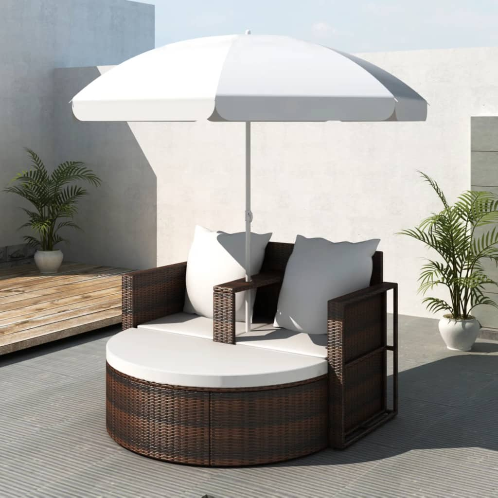 Garden Bed with Parasol Brown Poly Rattan