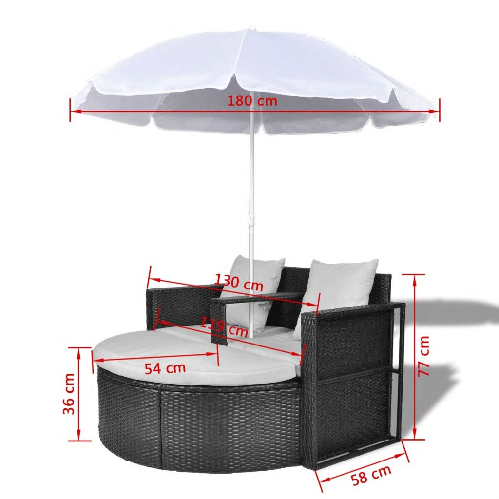 Garden Bed with Parasol Black Poly Rattan 8