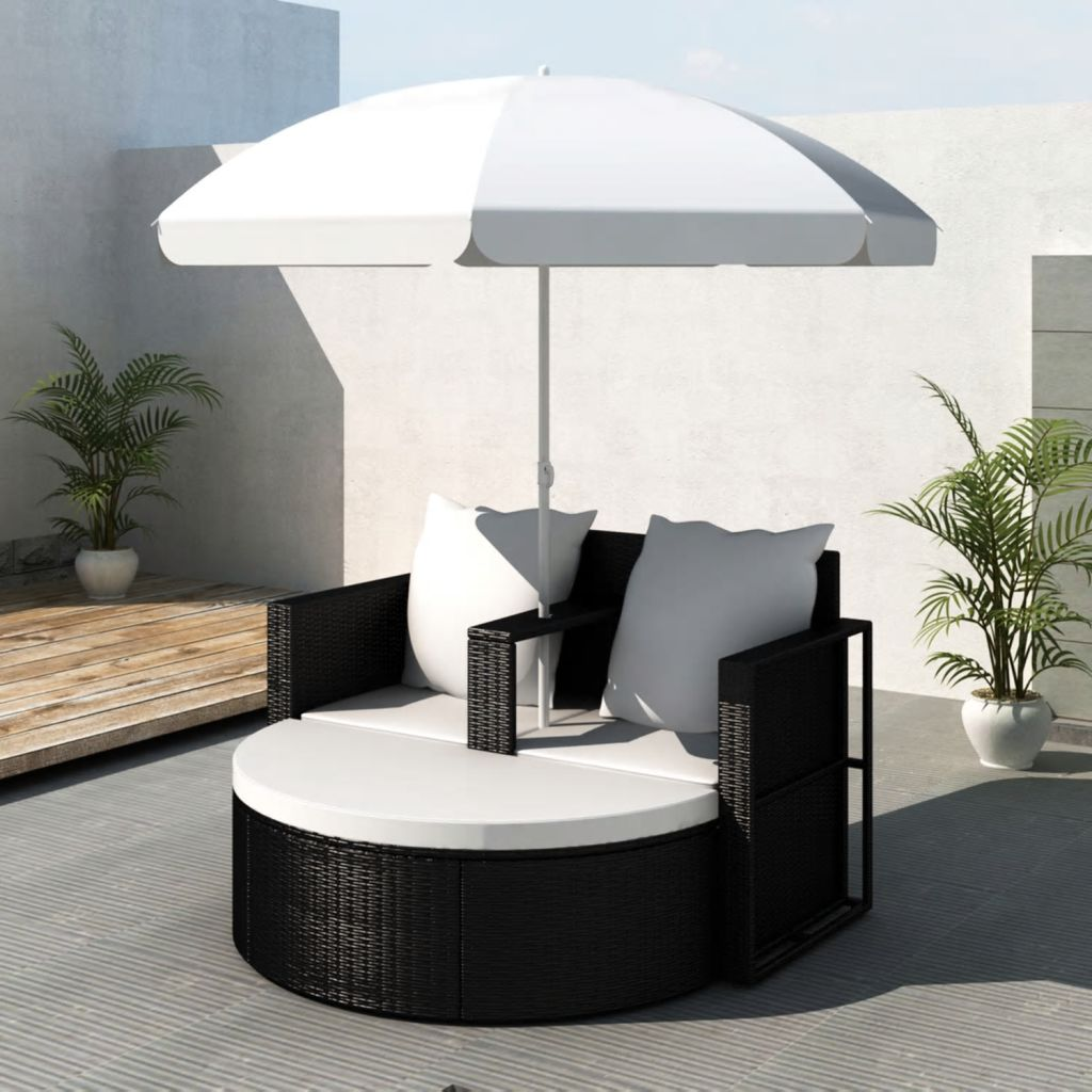 Garden Bed with Parasol Black Poly Rattan