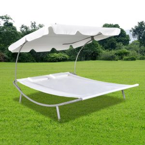 Outdoor Lounge Bed with Canopy & Pillows Cream White