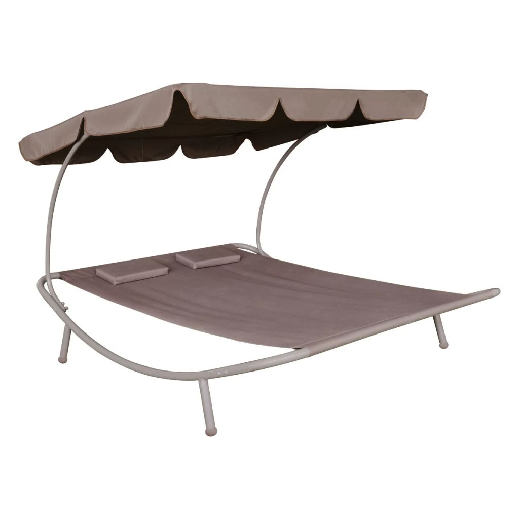 Outdoor Lounge Bed with Canopy & Pillows Brown 2
