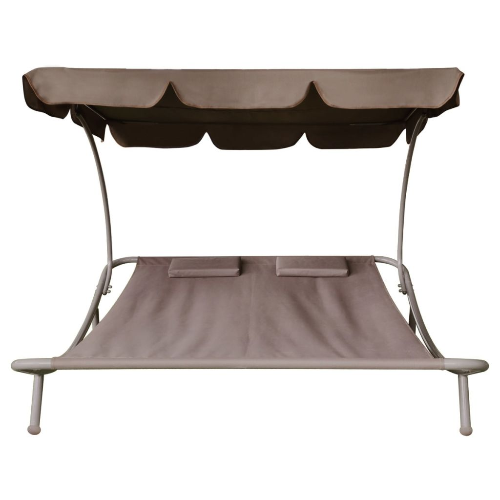Outdoor Lounge Bed with Canopy & Pillows Brown 3