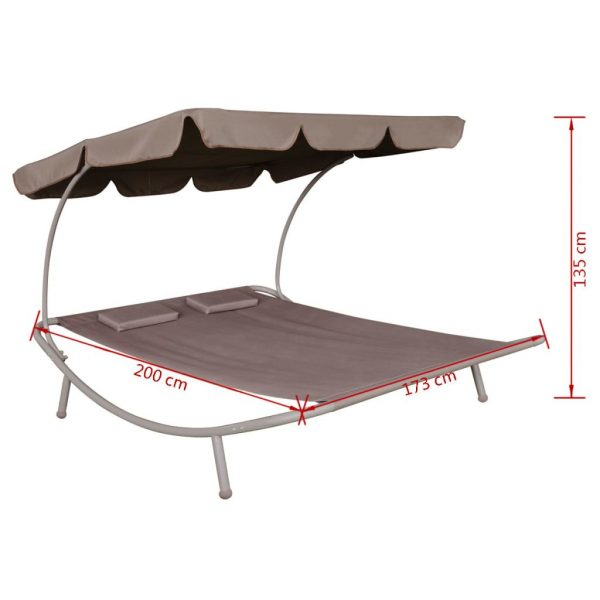 Outdoor Lounge Bed with Canopy & Pillows Brown 5