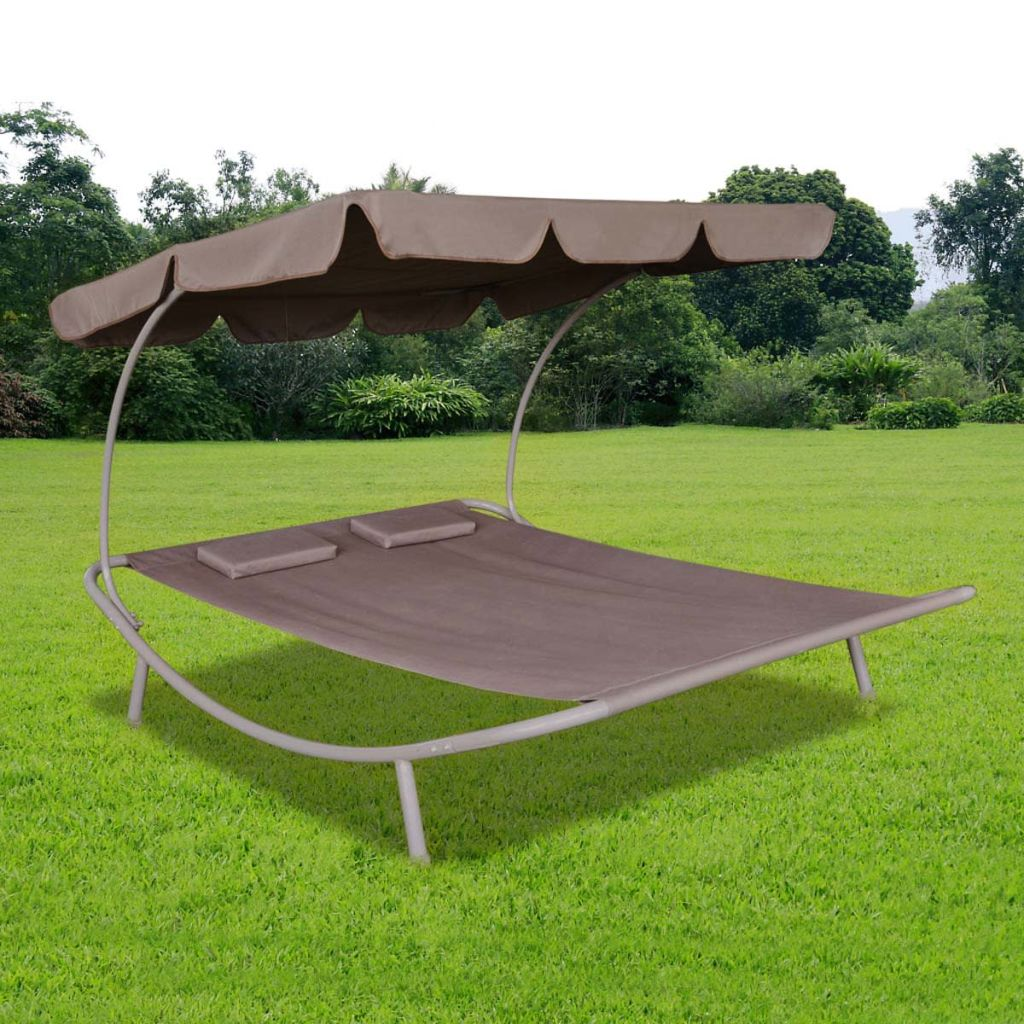 Outdoor Lounge Bed with Canopy & Pillows Brown