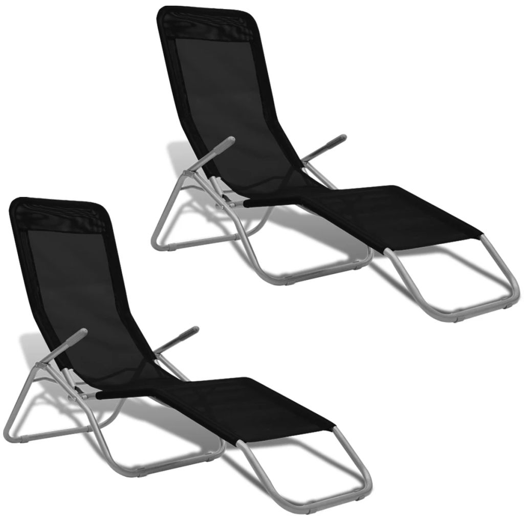 Sun Loungers 2 pcs Steel Frame and Textilene Black