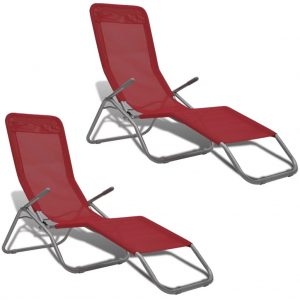 Sun Loungers 2 pcs Steel Frame and Textilene Red