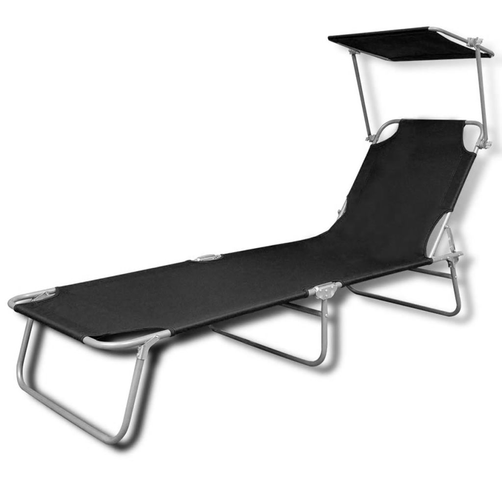Folding Sun Lounger with Canopy Steel and Fabric Black 2