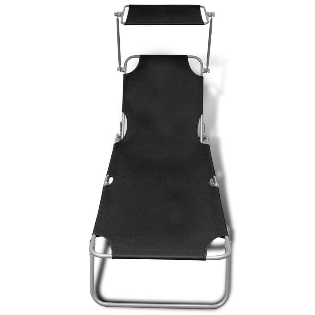 Folding Sun Lounger with Canopy Steel and Fabric Black 3