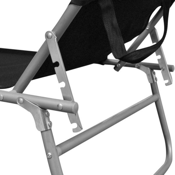 Folding Sun Lounger with Canopy Steel and Fabric Black 5