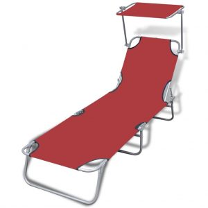 Folding Sun Lounger with Canopy Steel and Fabric Red