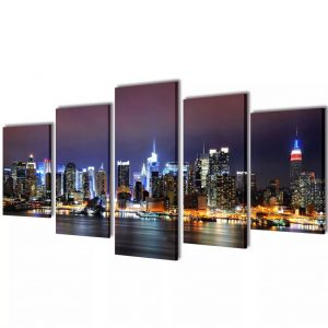 Canvas Wall Print Set Colourful New York Skyline 200 x 100 cm