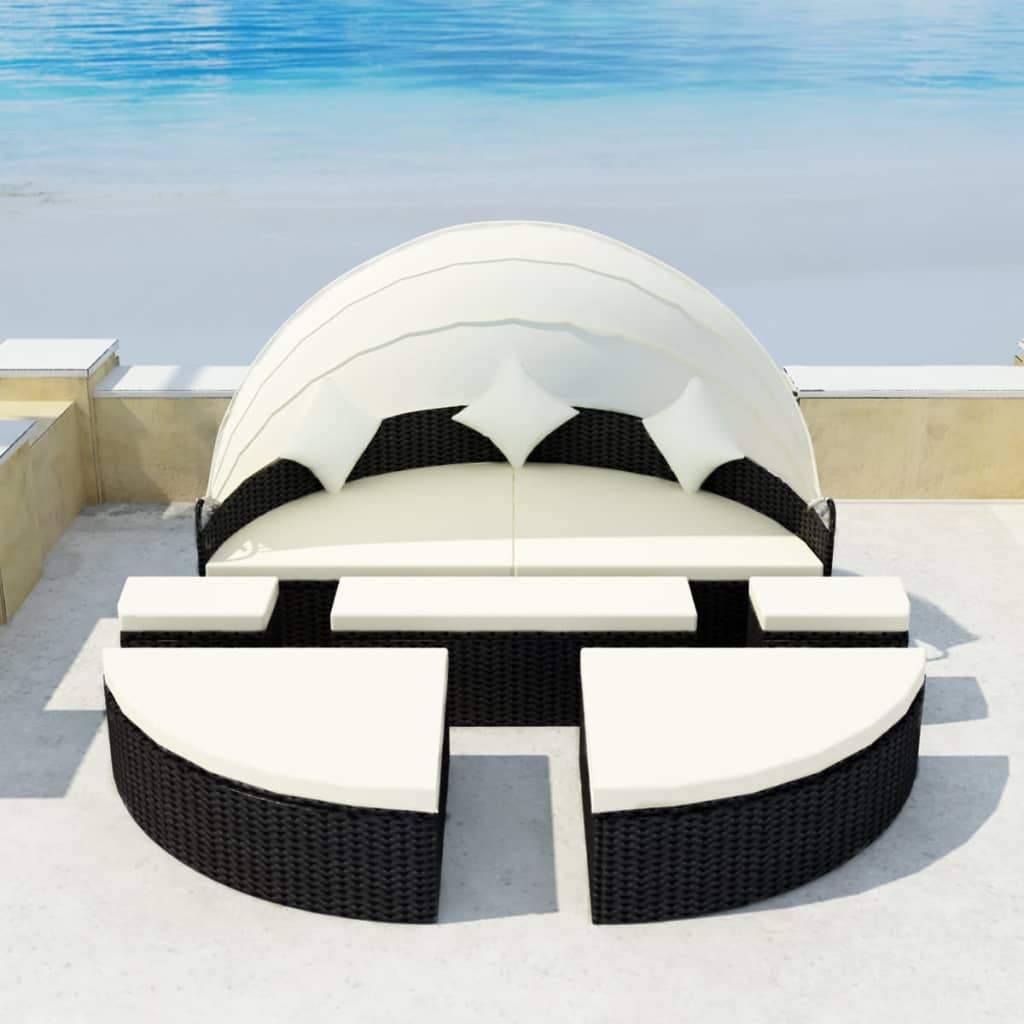 Garden Bed with Canopy Black 186x226 cm Poly Rattan