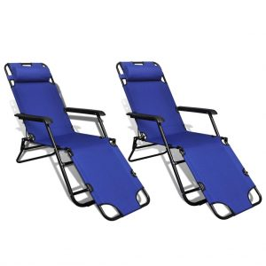 Folding Sun Lounger 2 pcs with Footrests Steel Blue