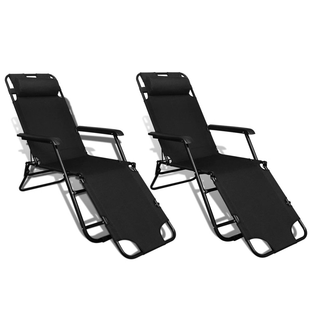 Folding Sun Lounger 2 pcs with Footrests Steel Black