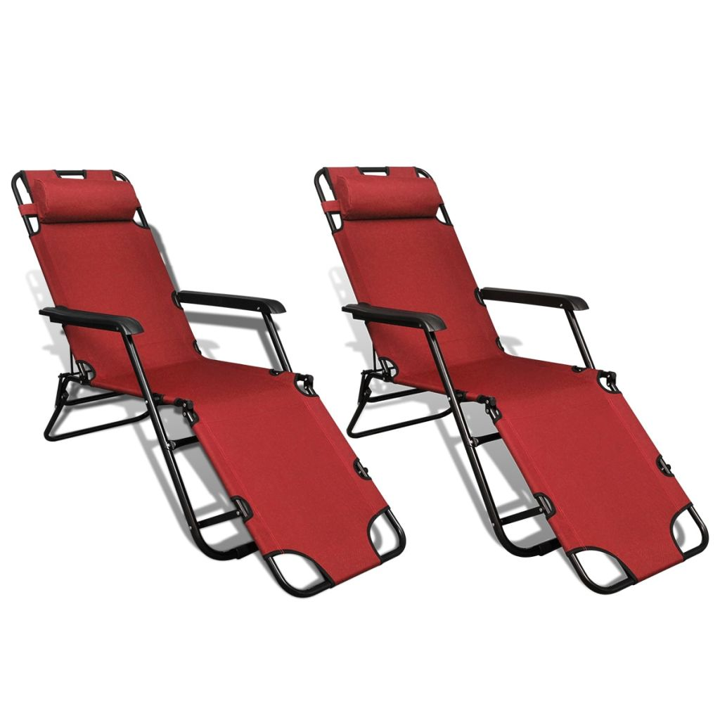Folding Sun Lounger 2 pcs with Footrests Steel Red