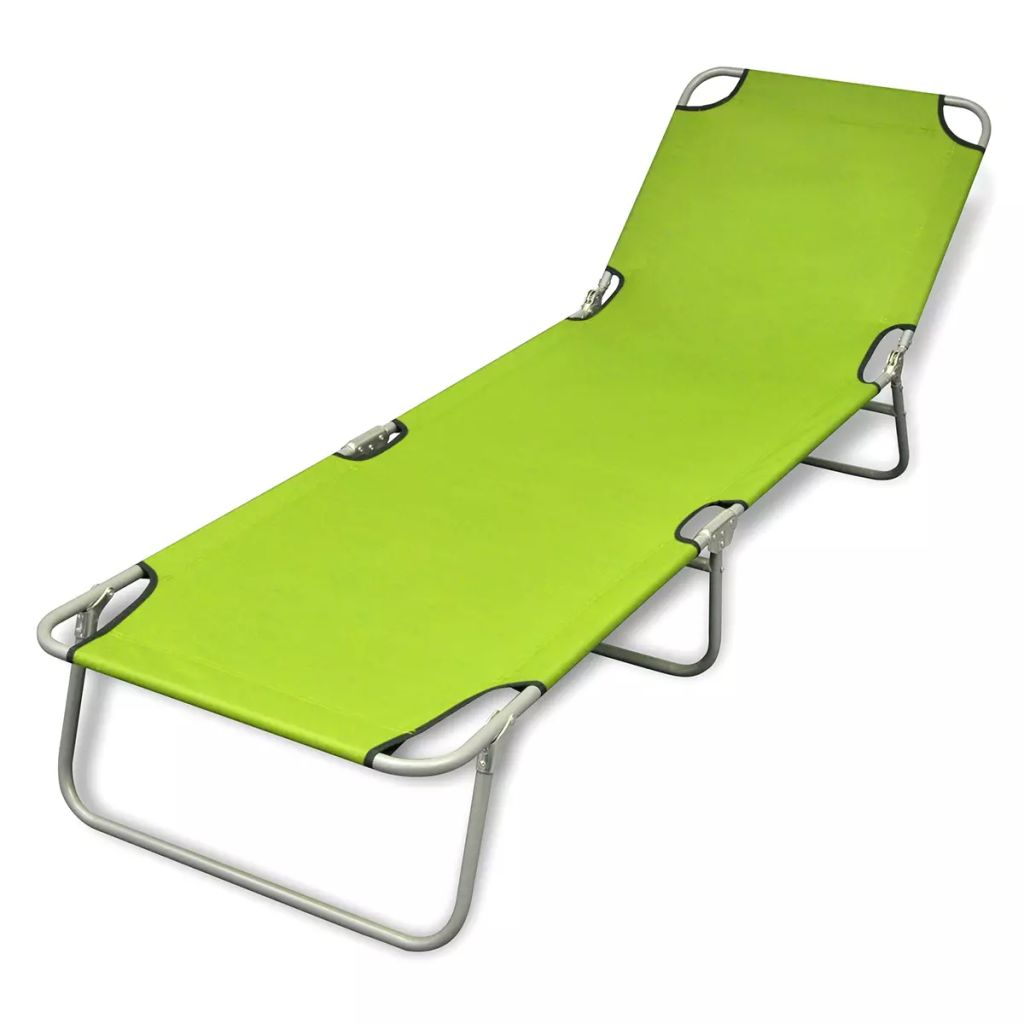 Folding Sun Lounger Powder-coated Steel Apple Green