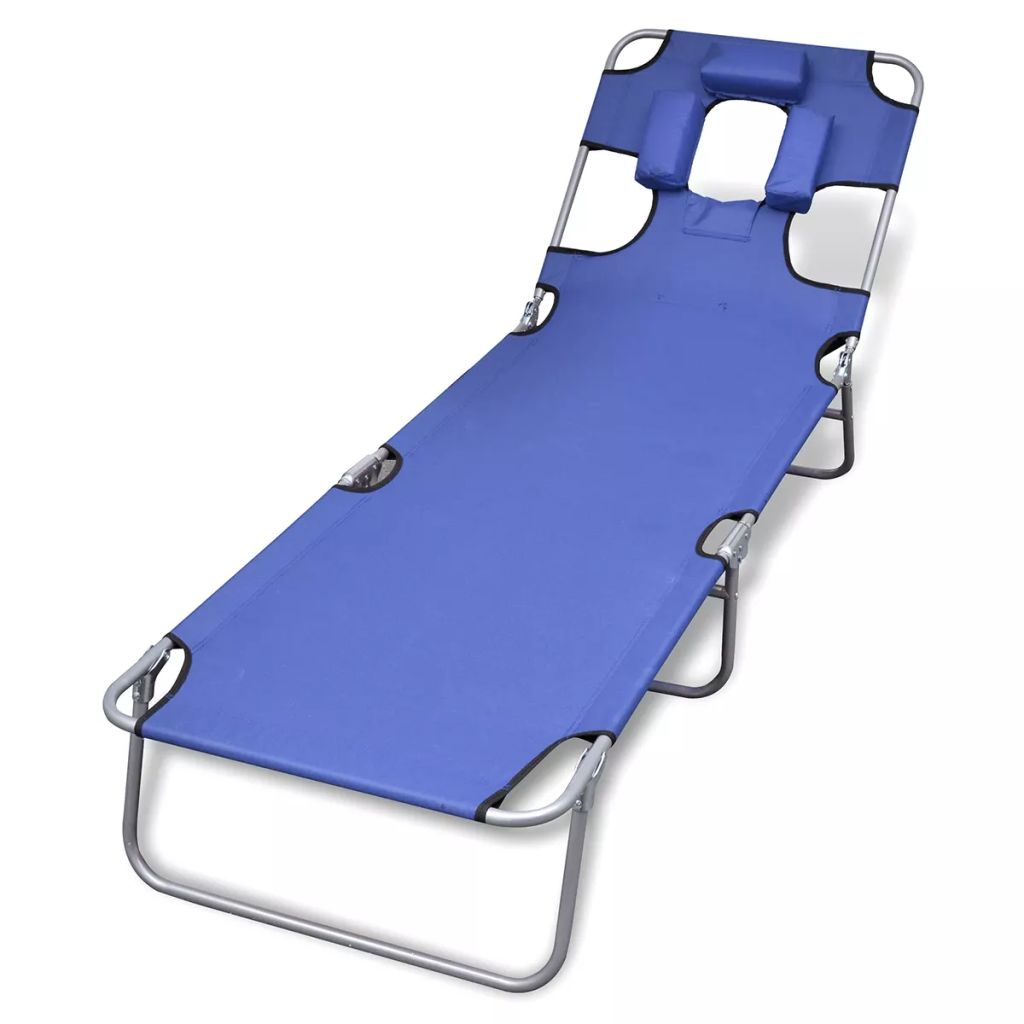 Folding Sun Lounger with Head Cushion Powder-coated Steel Blue