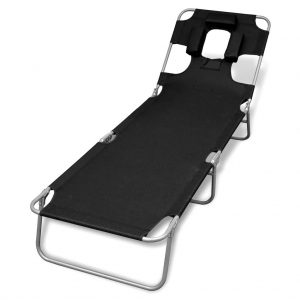 Folding Sun Lounger with Head Cushion Powder-coated Steel Black