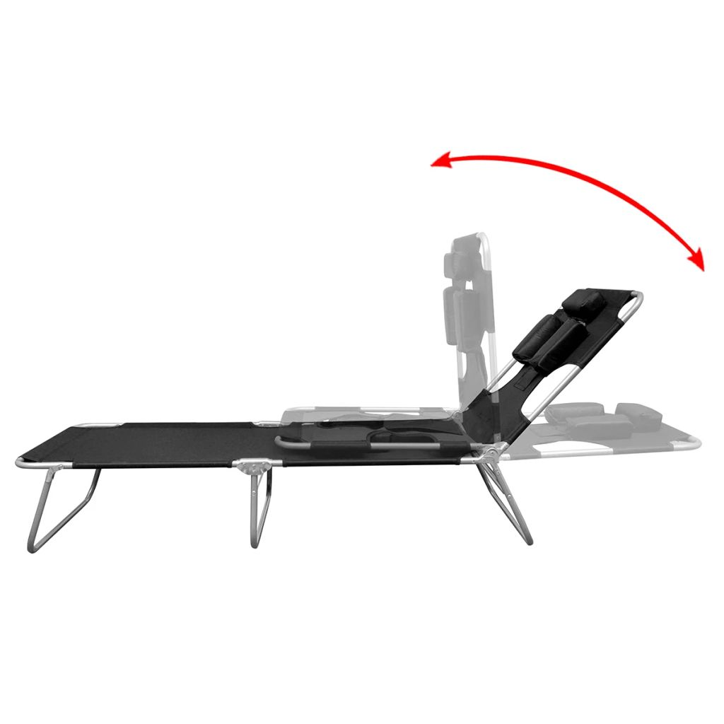 Folding Sun Lounger with Head Cushion Powder-coated Steel Black 4