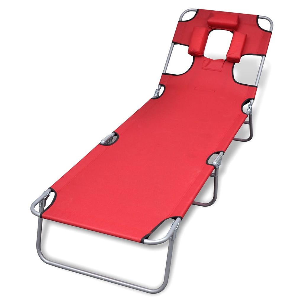 Folding Sun Lounger with Head Cushion Powder-coated Steel Red 1