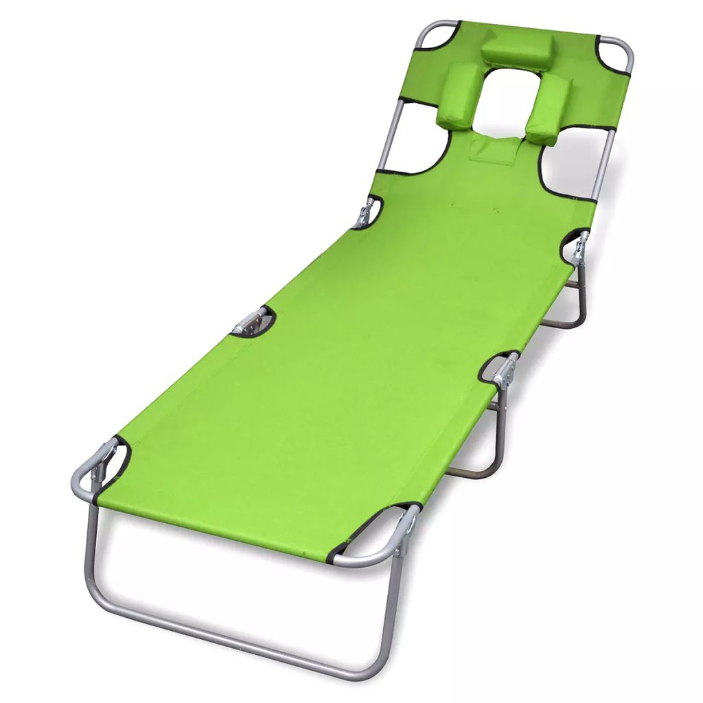 Folding Sun Lounger with Head Cushion Powder-coated Steel Green