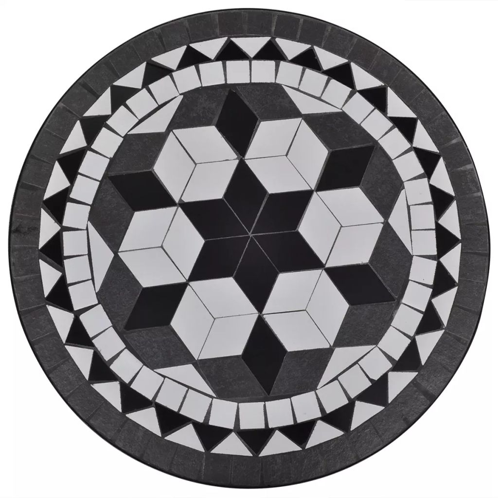 Bistro Table Black and White 60 cm Mosaic 2