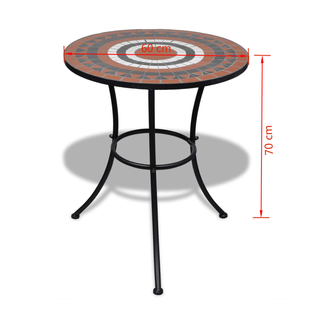 Bistro Table Terracotta and White 60 cm Mosaic 5