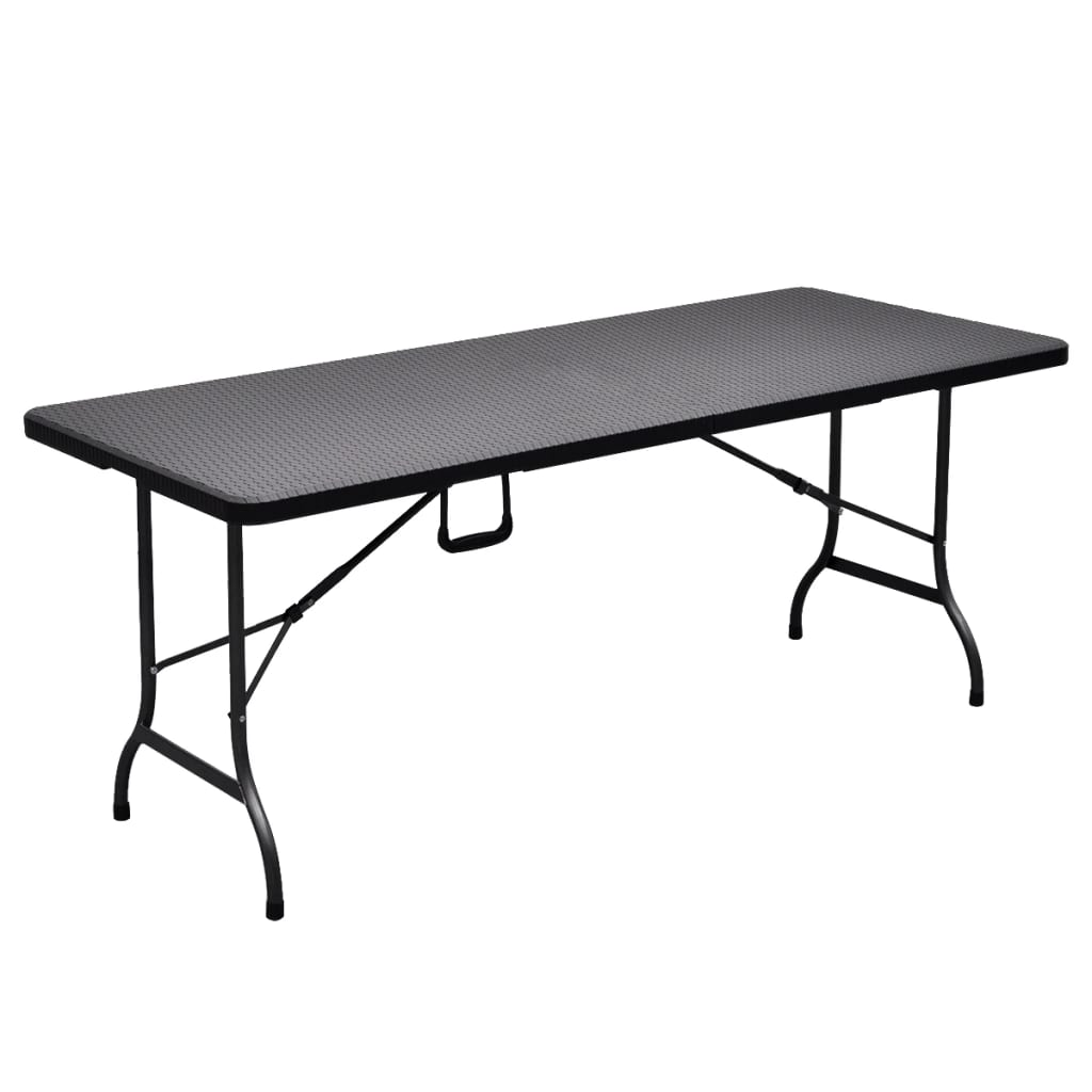Folding Garden Table Black 180x75x72 cm HDPE Imitation Rattan