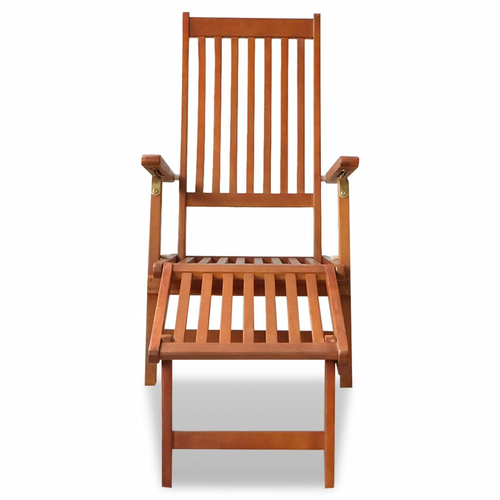 Outdoor Deck Chair with Footrest Solid Acacia Wood 2