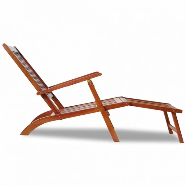 Outdoor Deck Chair with Footrest Solid Acacia Wood 3