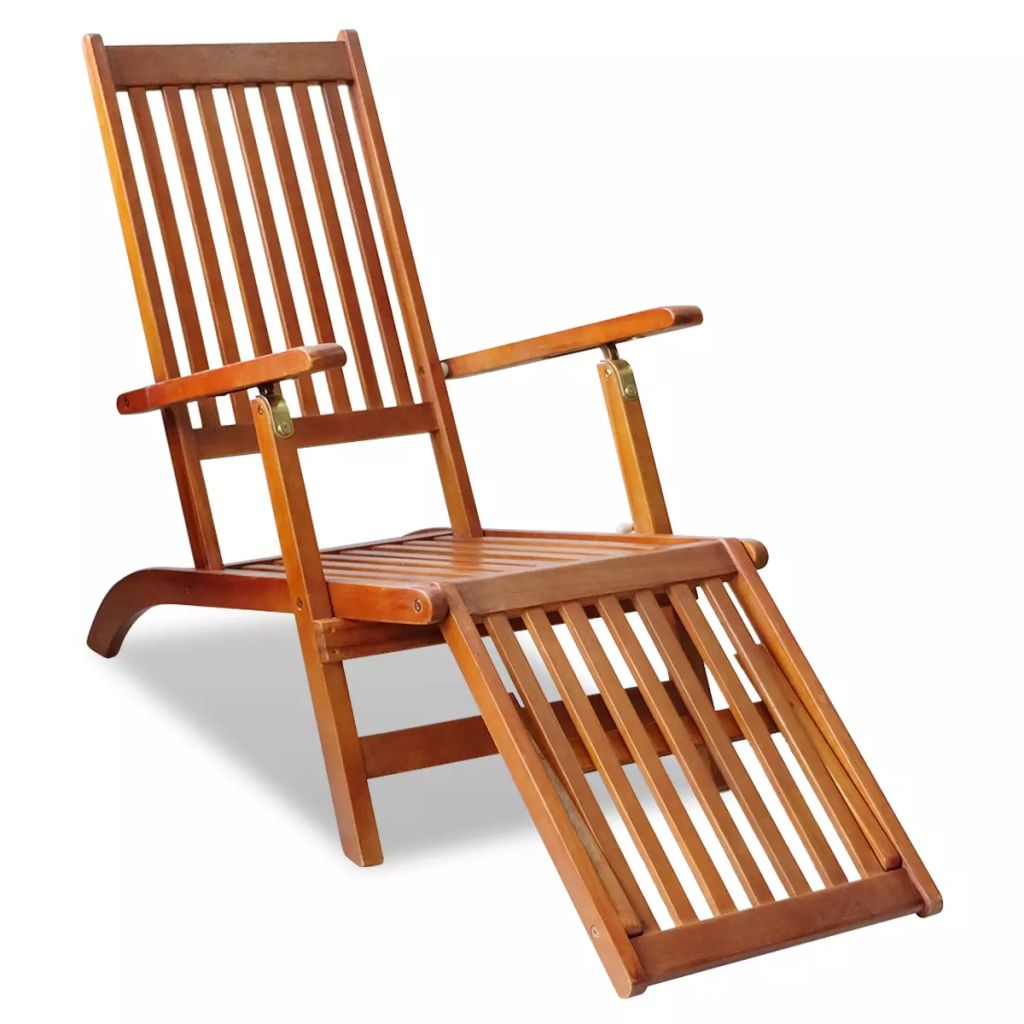 Outdoor Deck Chair with Footrest Solid Acacia Wood 6