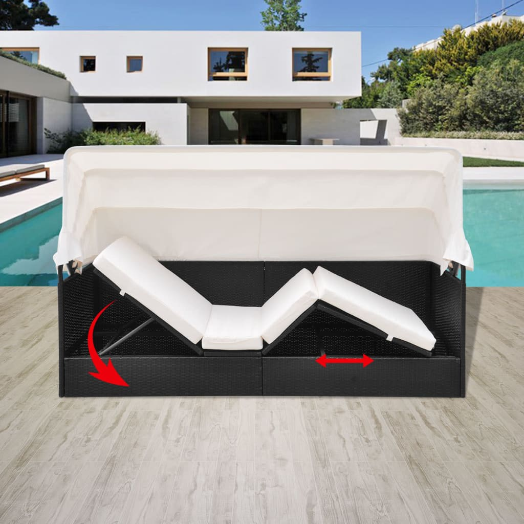 Outdoor Sofa with Canopy Poly Rattan Black