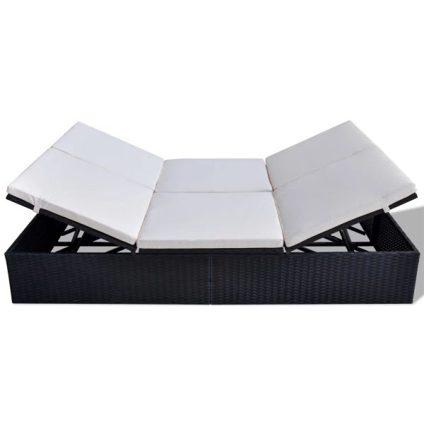 Double Sun Lounger with Cushion Poly Rattan Black 3