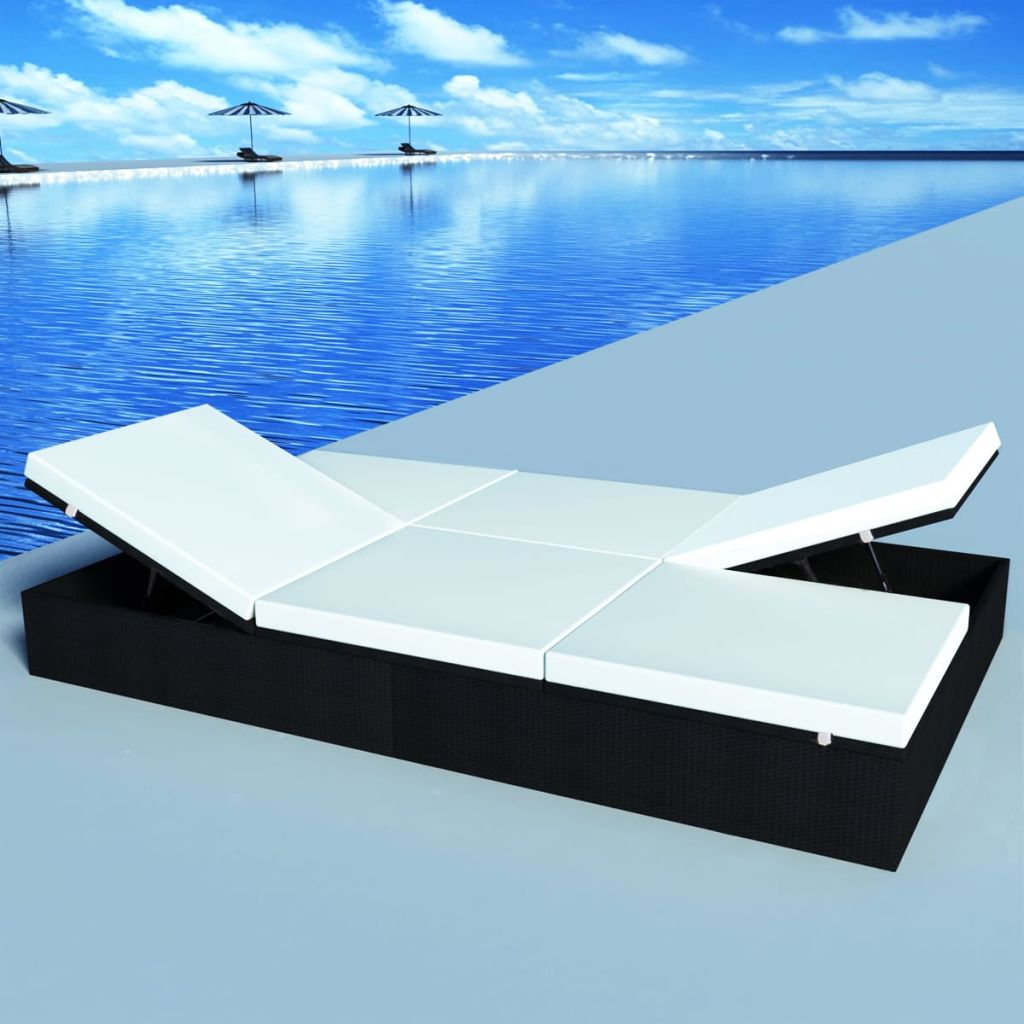 Double Sun Lounger with Cushion Poly Rattan Black