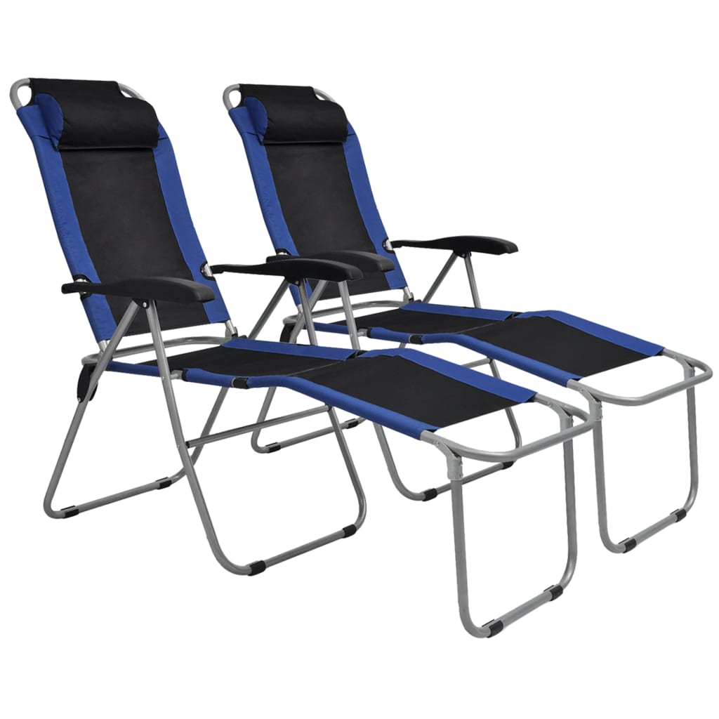 Reclining Camping Chairs 2 pcs Blue and Black