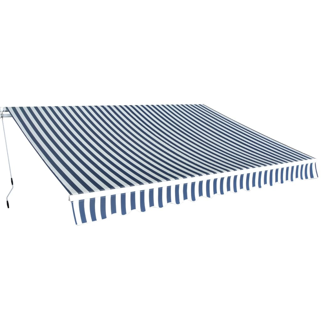 Folding Awning Manual-Operated 350 cm Blue and White