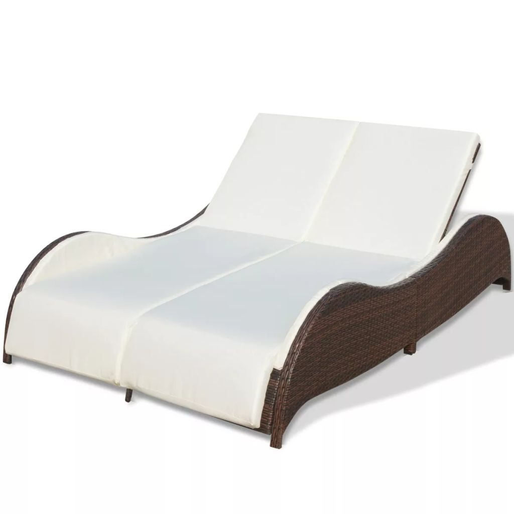 Double Sun Lounger with Cushion Poly Rattan Brown 2