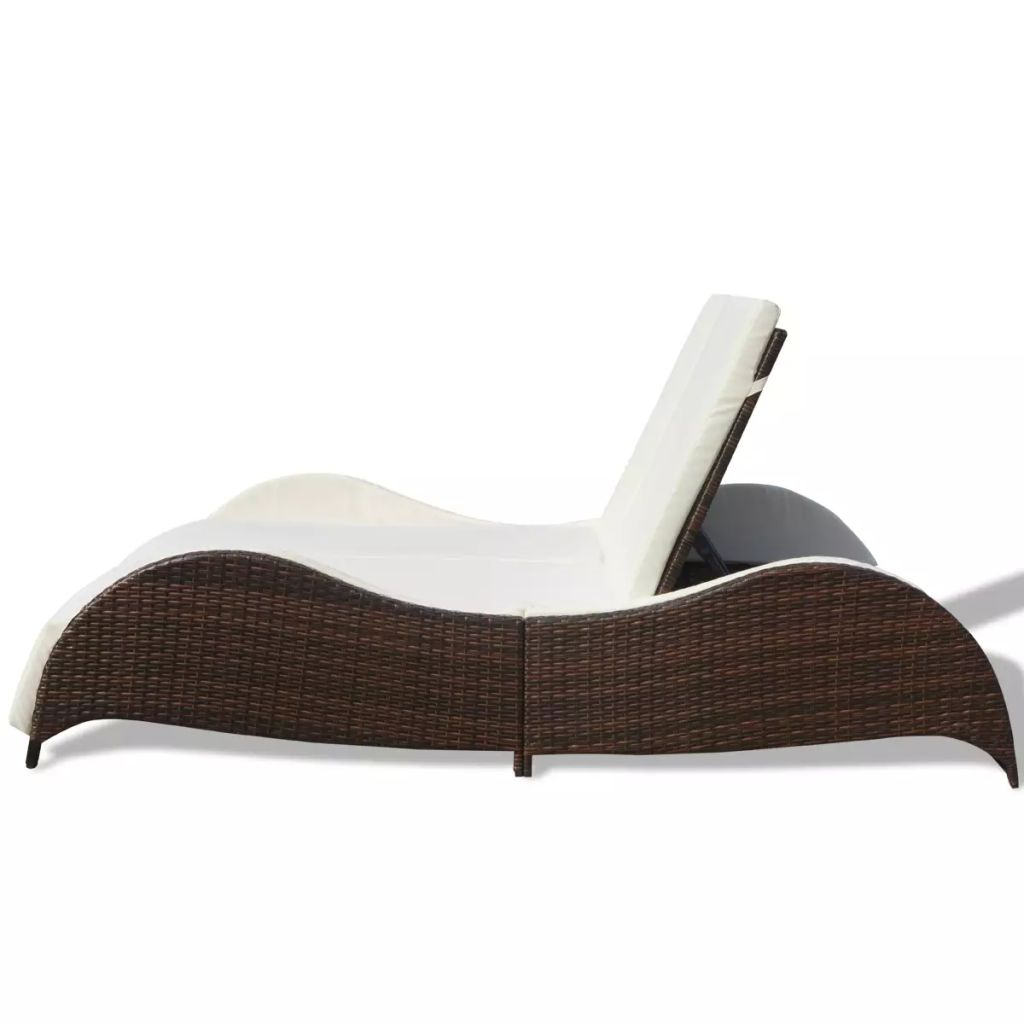 Double Sun Lounger with Cushion Poly Rattan Brown 4