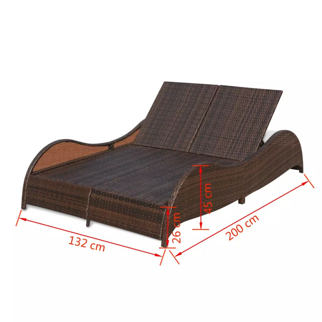Double Sun Lounger with Cushion Poly Rattan Brown 7
