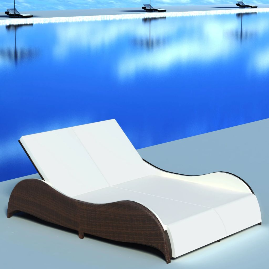 Double Sun Lounger with Cushion Poly Rattan Brown 1
