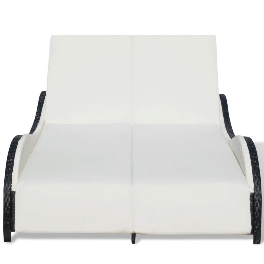 Double Sun Lounger with Cushion Poly Rattan Black 5