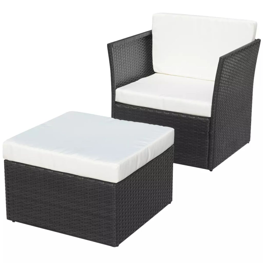 Garden Chair with Stool Poly Rattan Black