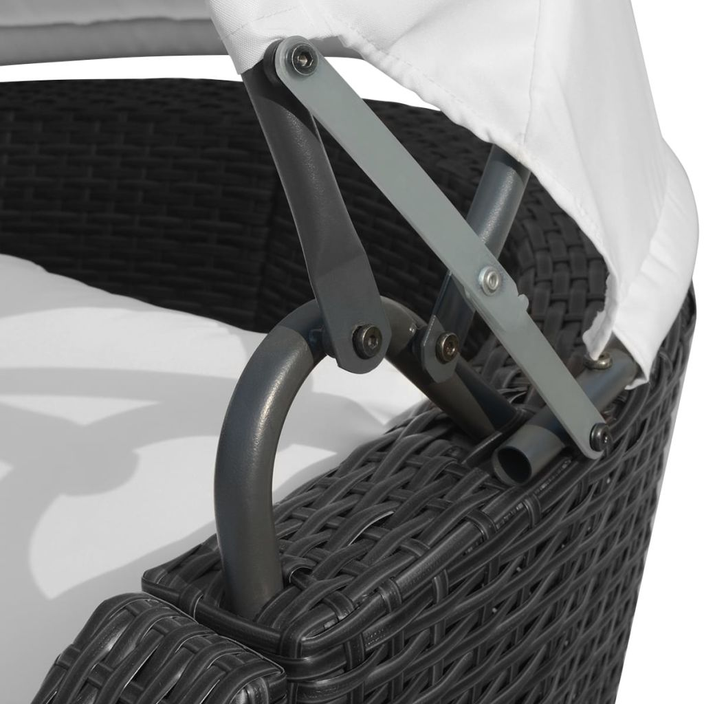 Sun Lounger with Canopy Poly Rattan Black 5