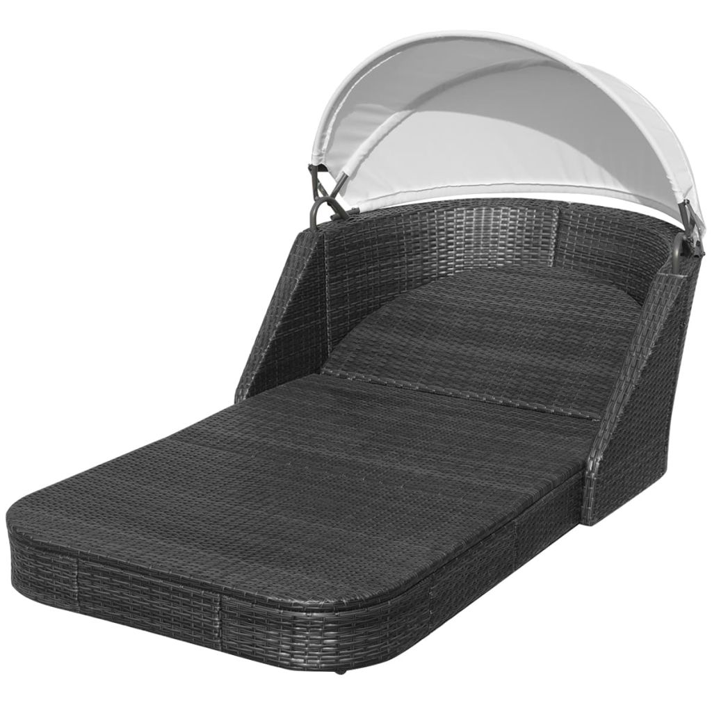 Sun Lounger with Canopy Poly Rattan Black 6