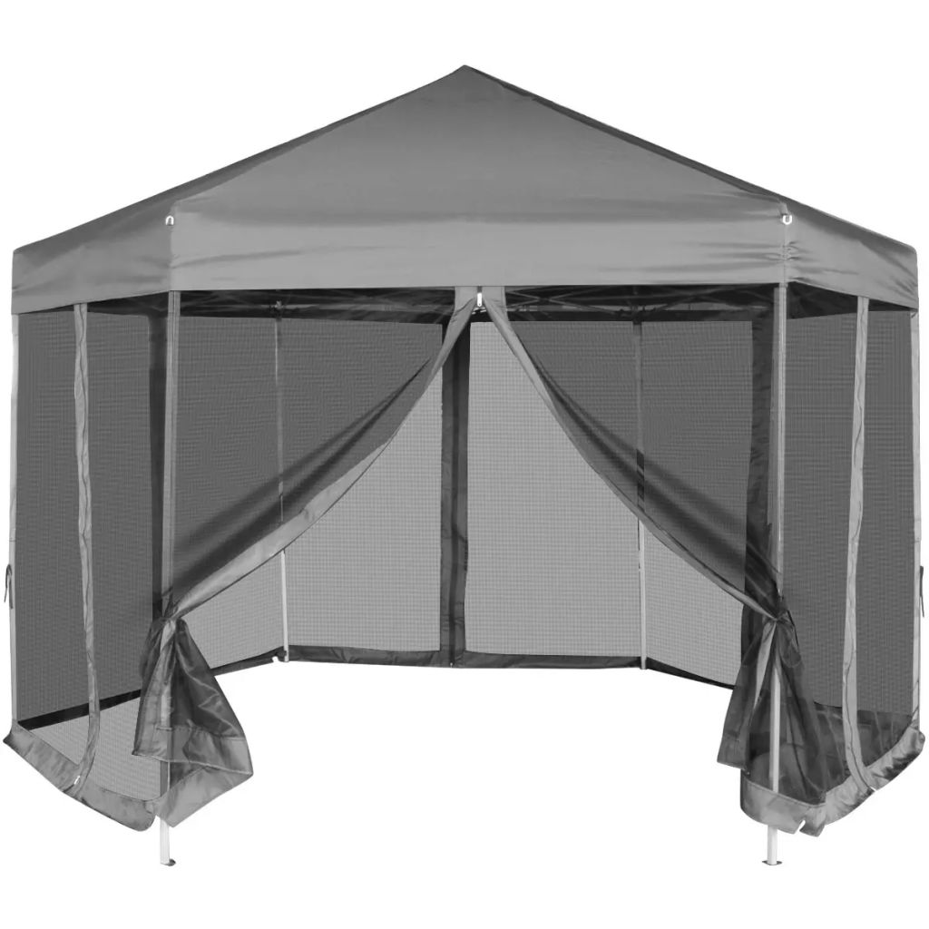 Hexagonal Pop-Up Marquee with 6 Sidewalls Grey 3.6x3.1 m