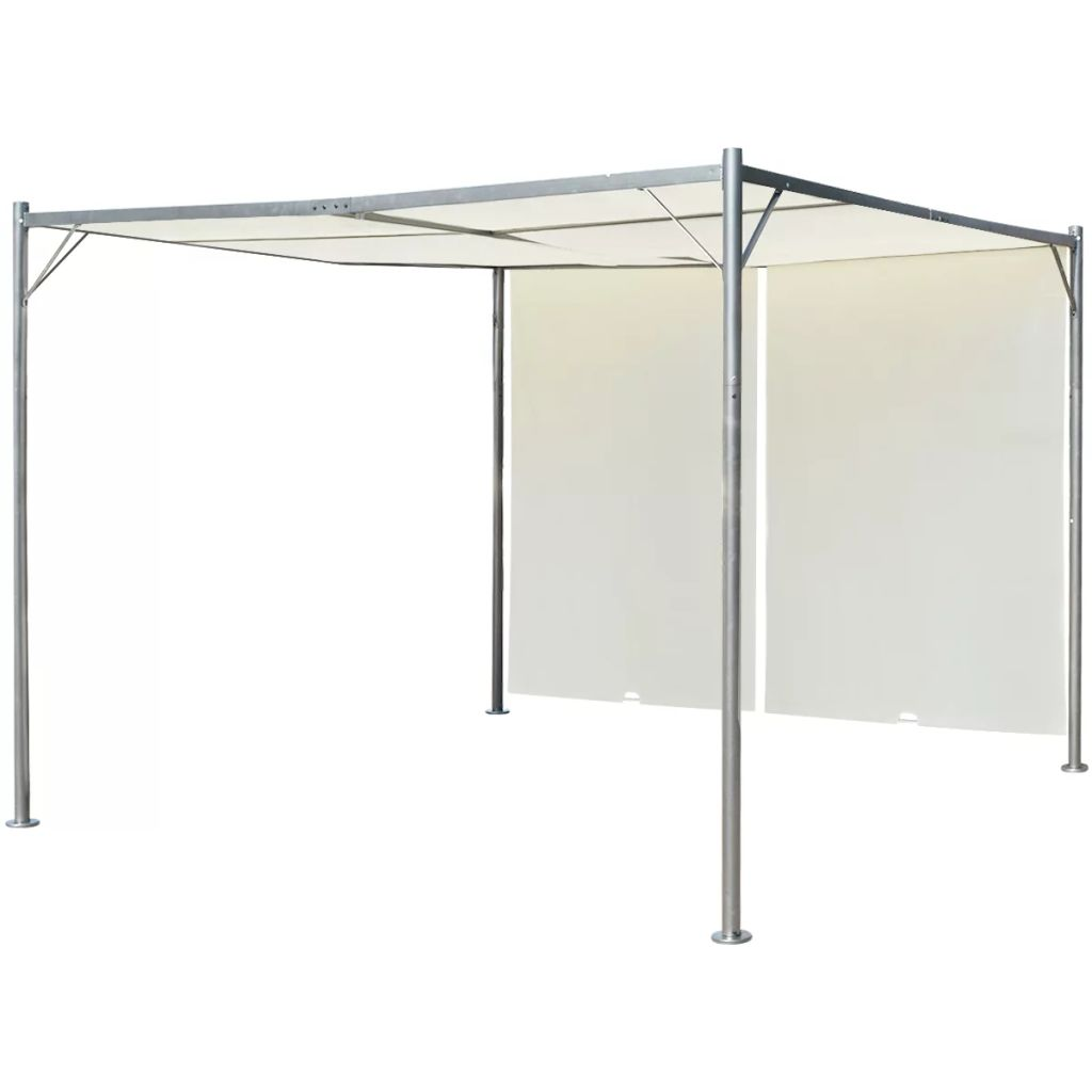 Pergola with Adjustable Roof Cream White Steel 3x3 m
