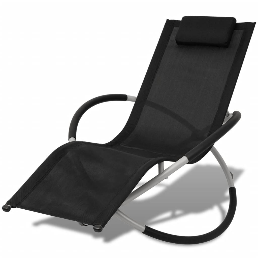 Outdoor Geometrical Sun Lounger Steel Black and Grey