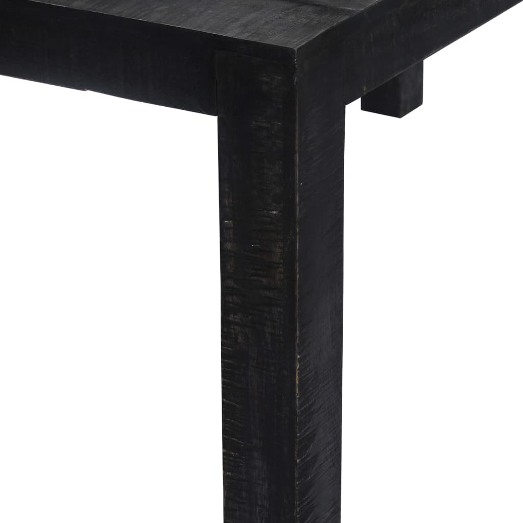 Dining Table Black 118x60x76 cm Solid Mango Wood 3
