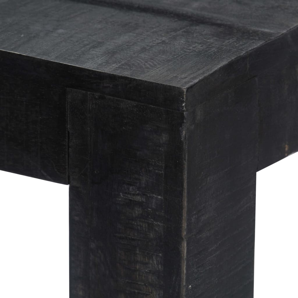 Dining Table Black 118x60x76 cm Solid Mango Wood 4
