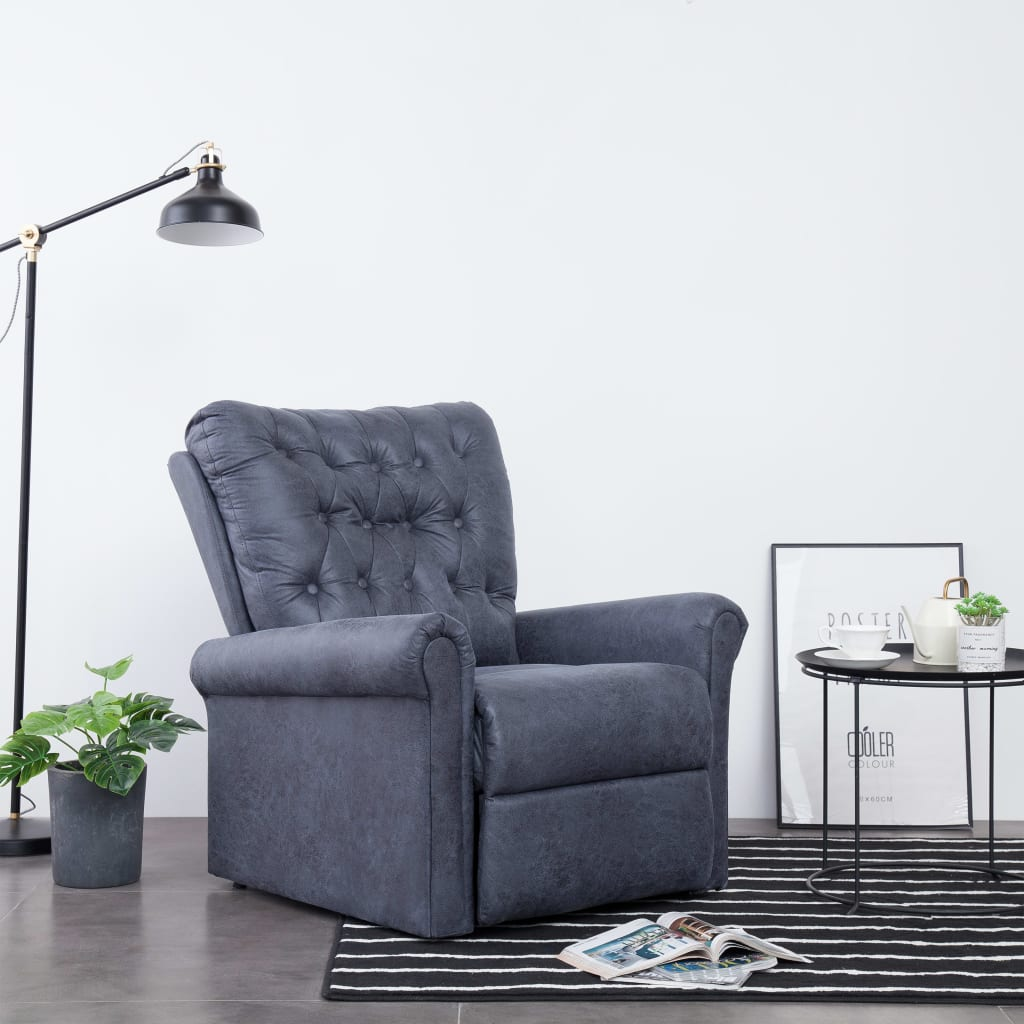 Reclining Chair Grey Faux Suede Leather